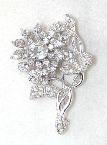 Unsigned Clear Rhinestone Floral Brooch/Pin/Pendant