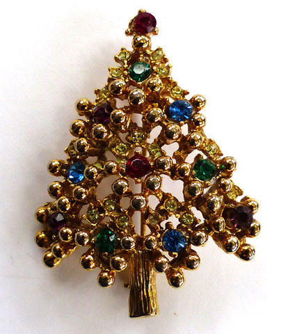 Gold-Tone Rhinestone Christmas Tree Brooch/Pin
