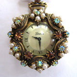 Brass Florenza Watch Pin/Brooch with Faux Pearls and Rhinestones
