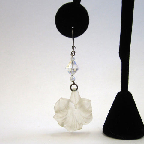 Frosted Lucite Plastic Hibiscus Floral Drop Pierced Earrings