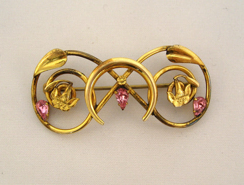 White Co. Goldtone and Pink Rhinestone Brooch/Pin