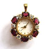 Chinese-Made Garnet and Glass Pendant Watch