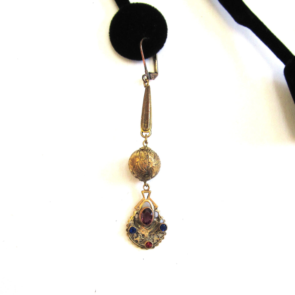 Art Nouveau Czech Gold-Filled Glass Stone Earrings