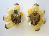 German Yellow and Peach Plastic Clip Earrings
