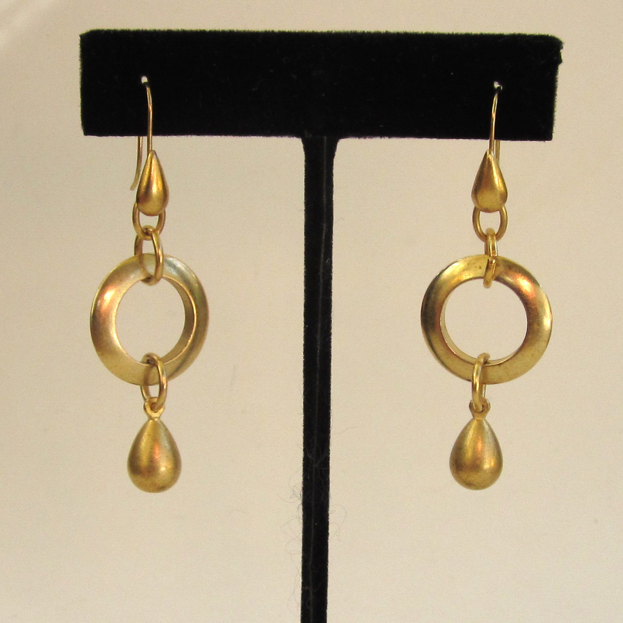 Circa 1980s Gold-tone Hoop Dangle Earrings