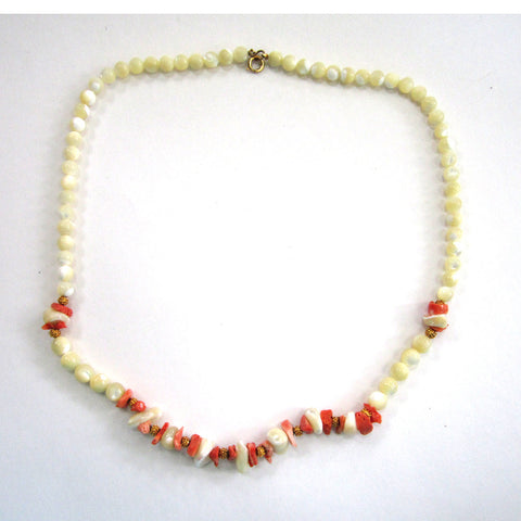 Gold-Tone Polished Stone and Coral Bead Necklace