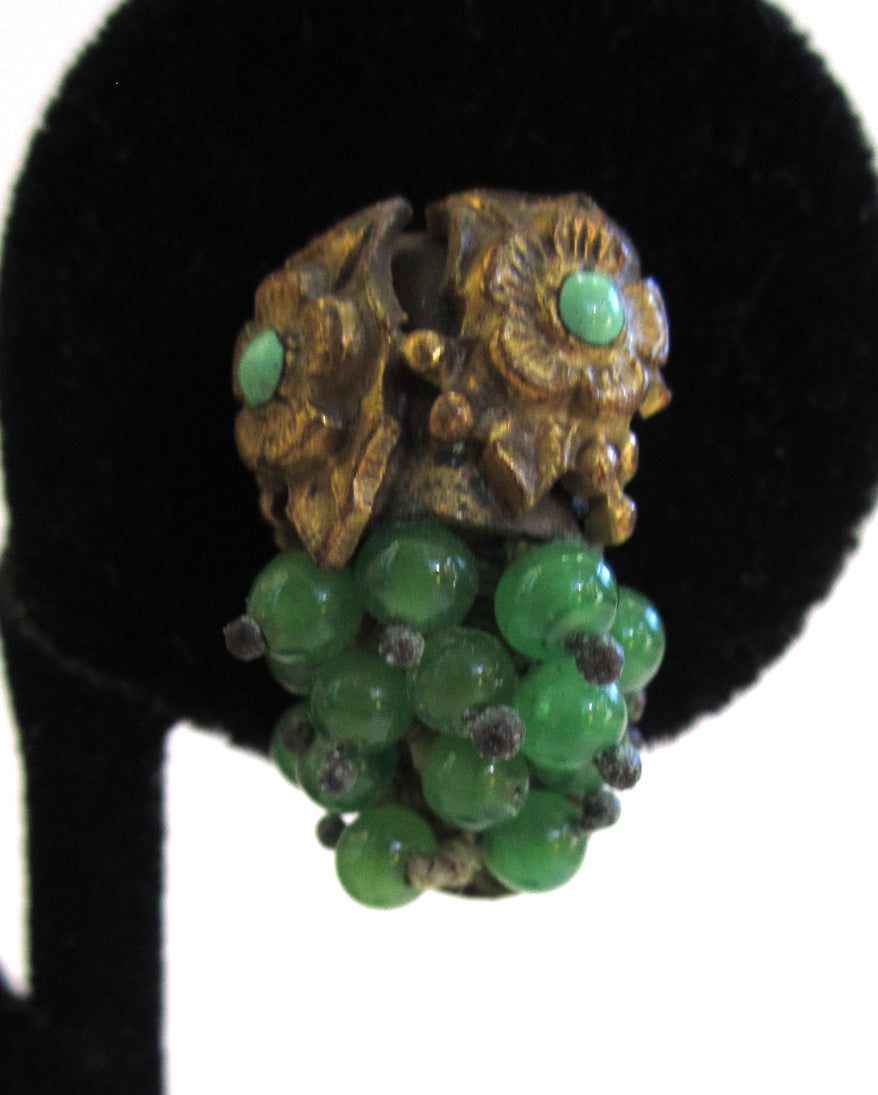 Brass Green Glass Bead Leaf and Floral Earrings