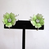 Green Enamel Floral Earrings