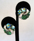 Circa 1950s Lisner Silver Tone Green Rhinestone Earrings