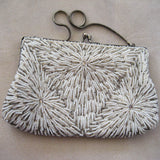Hong Kong Glass Cream and Silver Seed Bead and Rhinestone Purse