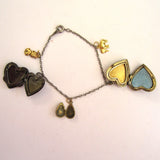 Silver-tone and Gold-Tone Locket Charm Bracelet