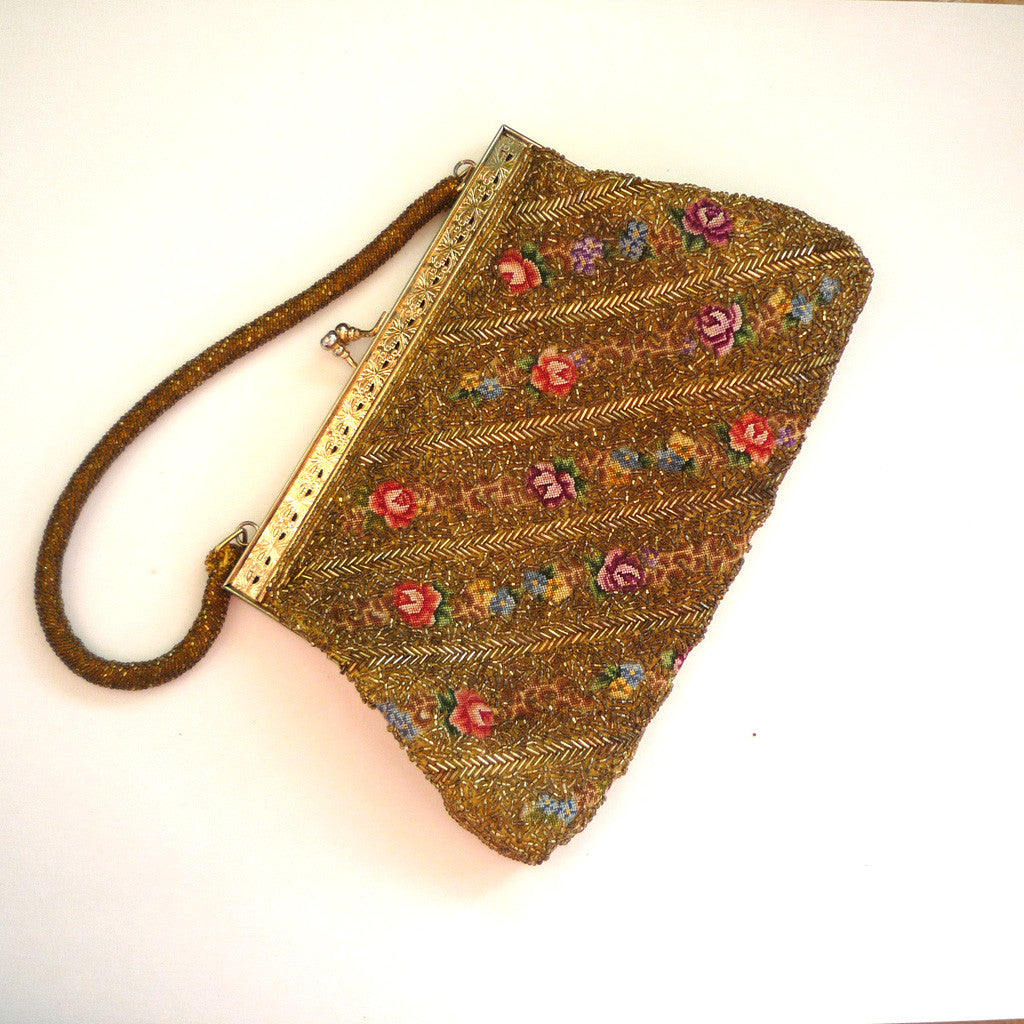 Gold-Beaded Floral Tapestry Handbag/Purse