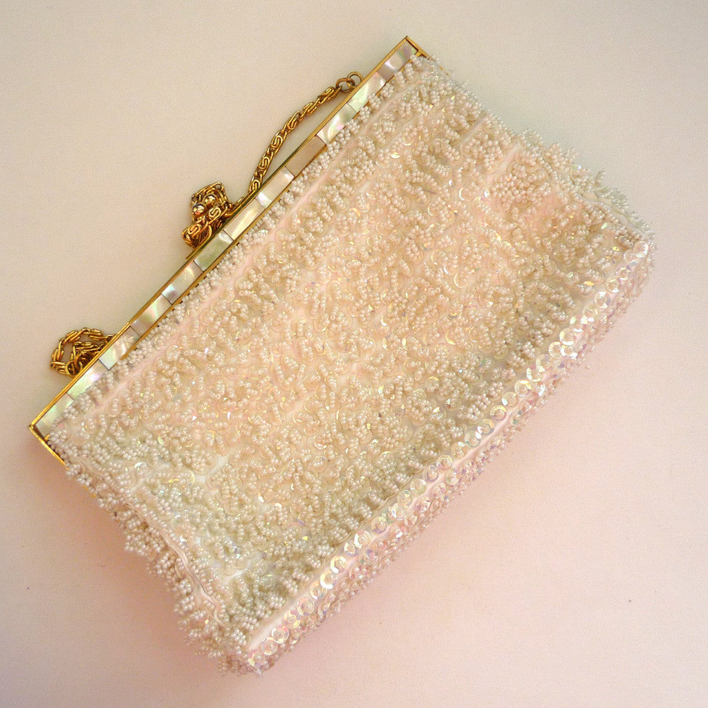 White Beaded Mother-of-Pearl Purse/Handbag