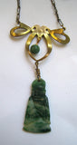 Art Deco Bow and Jade Buddha Necklace/Pendant