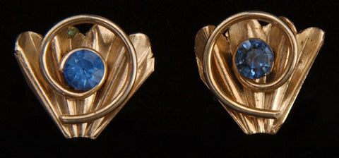 Silver Fan and Blue Rhinestone Screwback Earrings