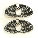 Blackened Silver Metal Rhinestone Winged Shoe Clips