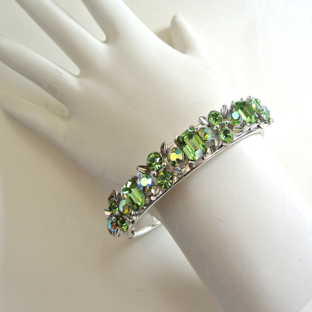 Lisner Green Rhinestone Bangle Bracelet