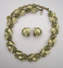 Lisner Gold-tone Leaf Demi-Parure: Choker/Earrings