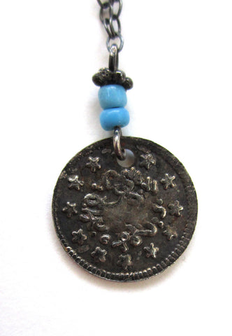 Turkish Coin Pendant with Blue Beads