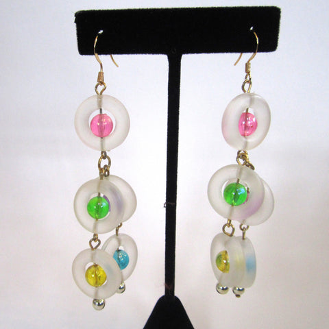 Pastel Frosted Lucite Rings Pierced Earrings
