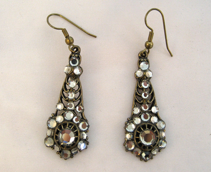 Metallic Mirrored Metallic Rhinestone Drop Earrings