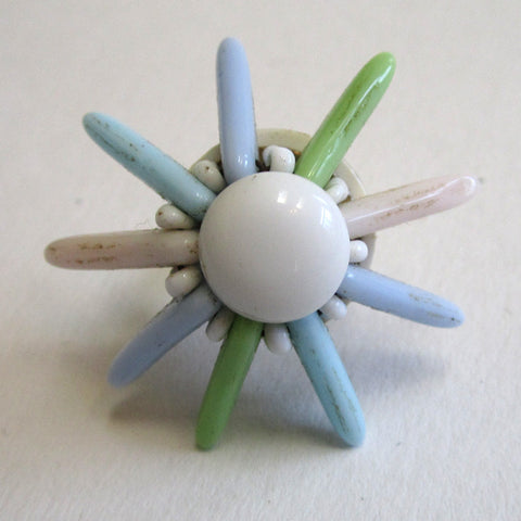 Circa 1960s Plastic Pastel Flower Earrings