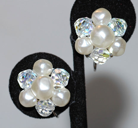 Faux Pearl and Crystal Earrings