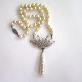Silver-Tone Faux Pearl and Rhinestone Crown Necklace
