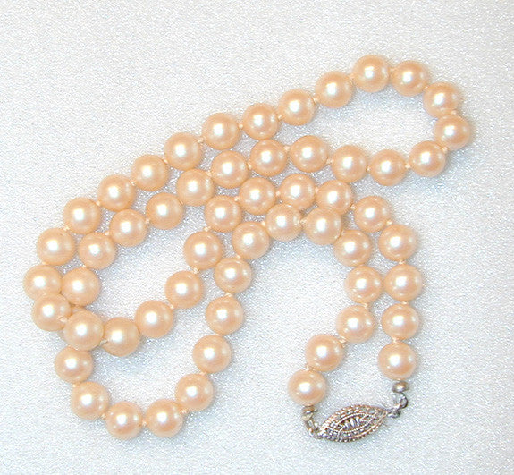 Faux Glass Pearl Necklace/Choker with Silver-tone Filigree Clasp