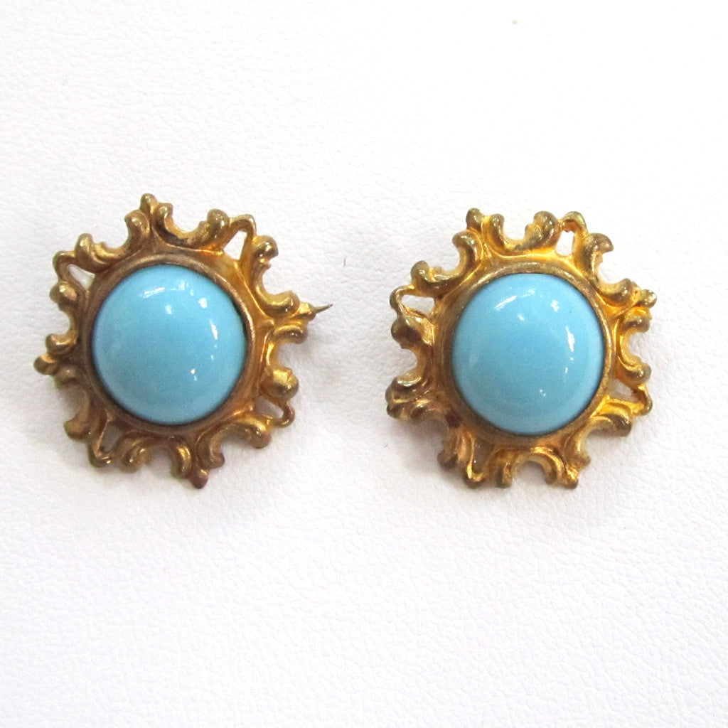 Matching Circa 1900 Gilt Blue Glass Brooches/Pins