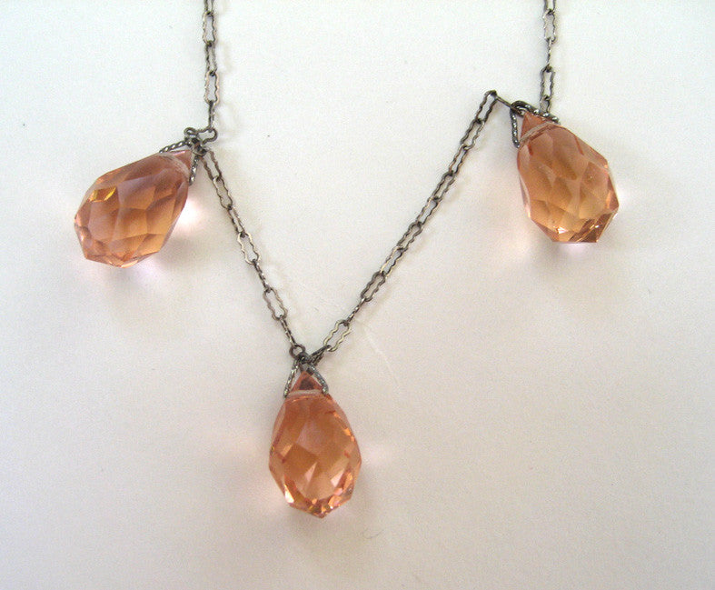 Art Deco Pink Crystal Drop Pendant