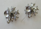 Circa 1950s Little Nemo Pink and Clear Floral Rhinestone Earrings