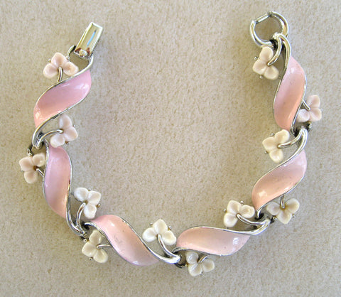 Lisner Pink and White Thermoset Plastic Enamel Bracelet