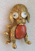 Unsigned Googly-eyed Goldtone Figural Puppy Brooch/Pin