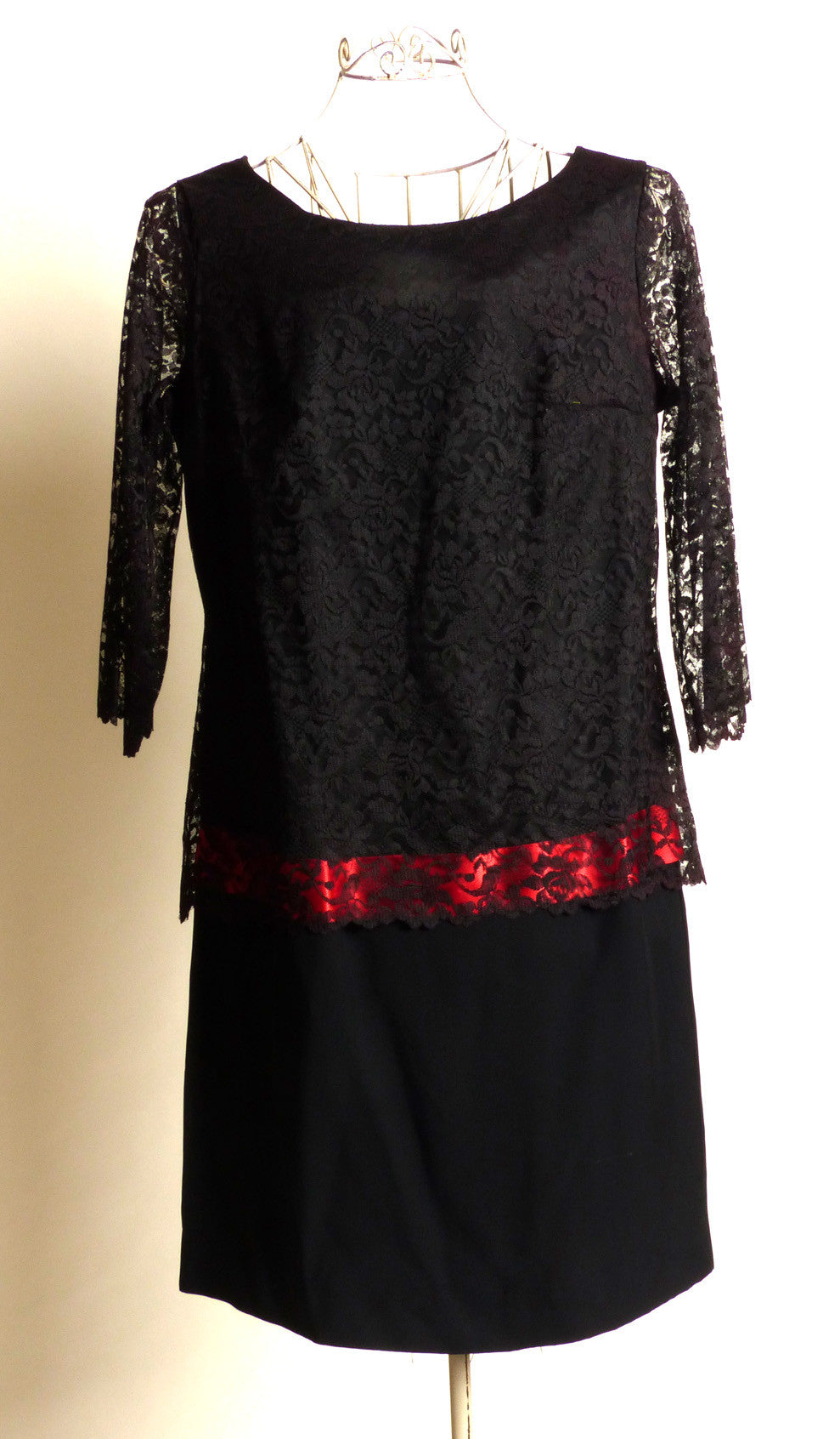 Circa 1960s Black Silk Crepe Lace Dress with Pink Accent