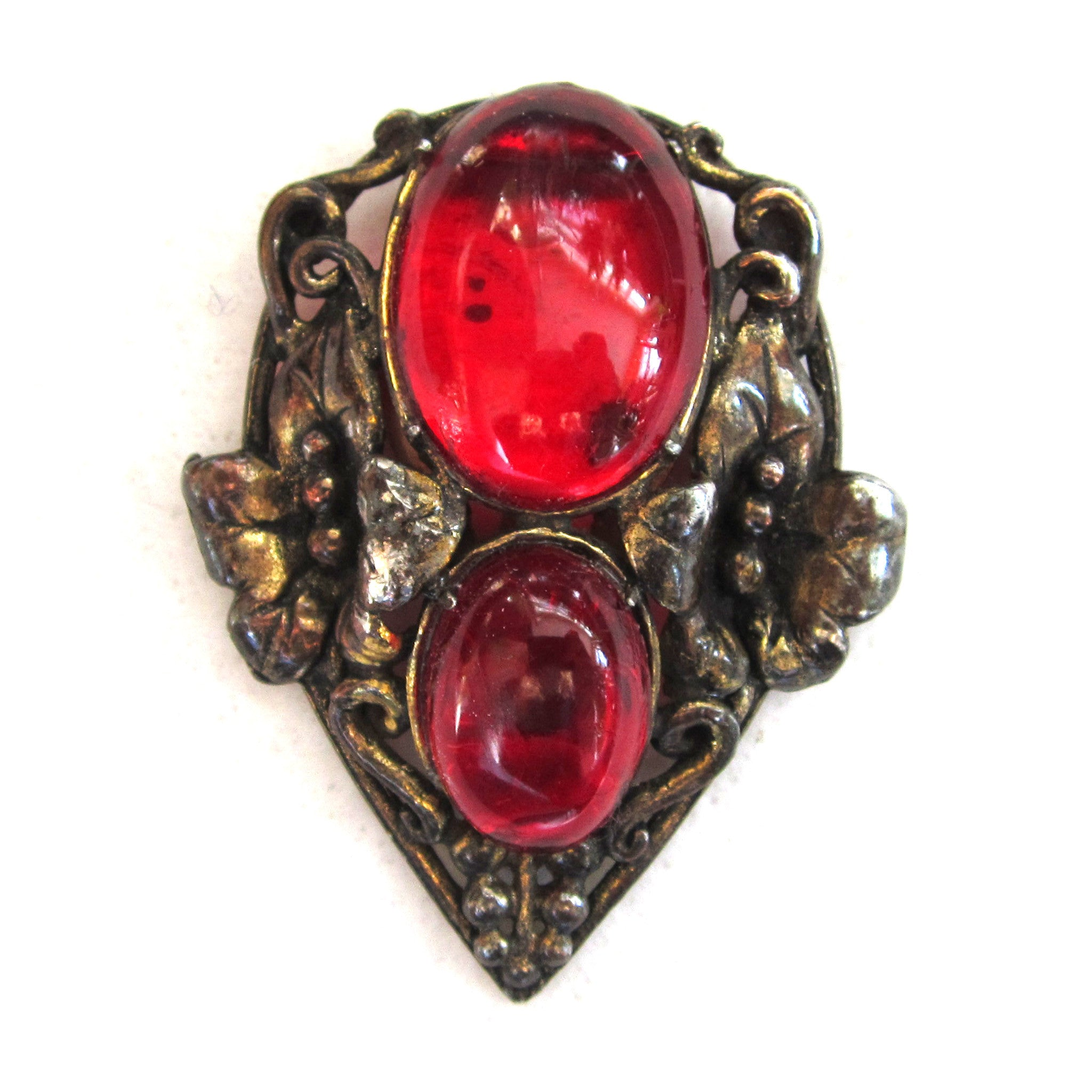 Silver-Tone Floral Red Glass Cabochon Dress Clip