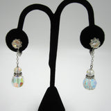 Faceted Cut Crystal and Rhinestone Drop Earrings