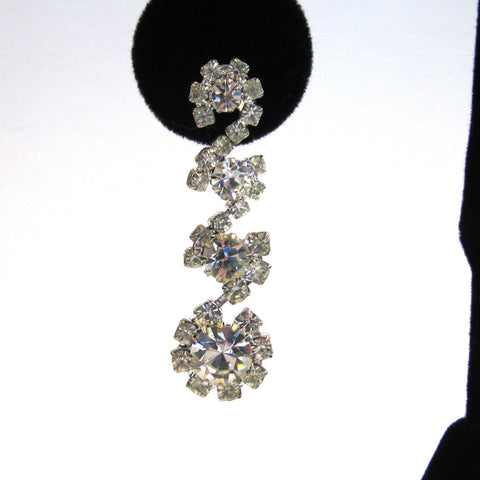 Silver-Tone Four Flower Rhinestone Pierced Earrings