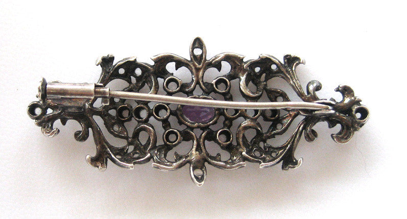 Victorian Sterling Silver Amethyst and Rose Cut Diamond BroochPin