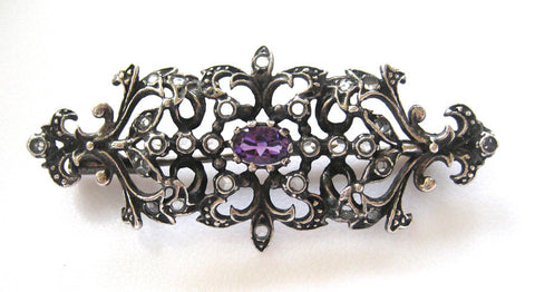 Sterling Silver Amethyst and Rose Cut Diamond Brooch/Pin