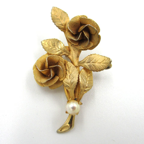 Goldtone Rose Floral Pin with Cultured Pearl Accent