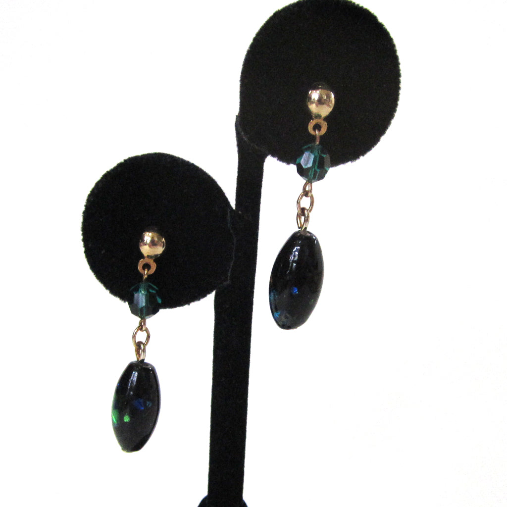 "Sarah Coventry ""Night Garden"" Glass Earrings in Original Box"