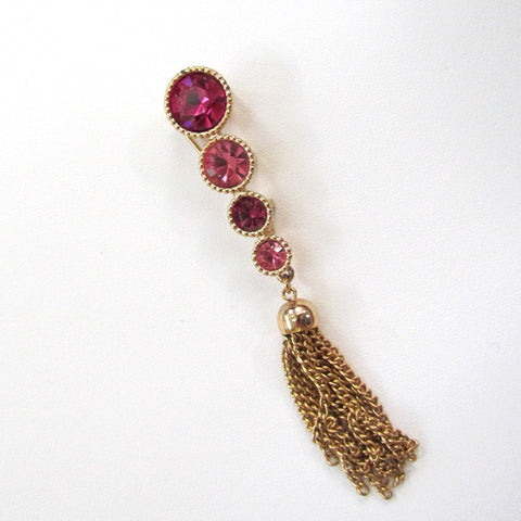 Sarah Coventry 'Saucy' Gold-tone Pink Rhinestone Tassel Brooch/Pin