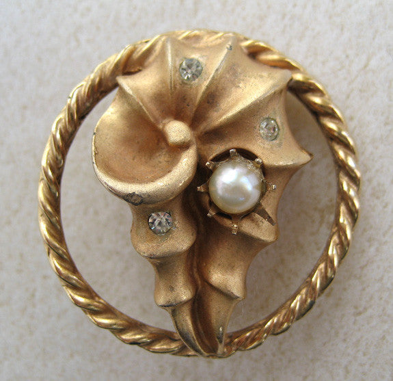 Coro Goldtone Faux Pearl and Rhinestone Brooch/Pin