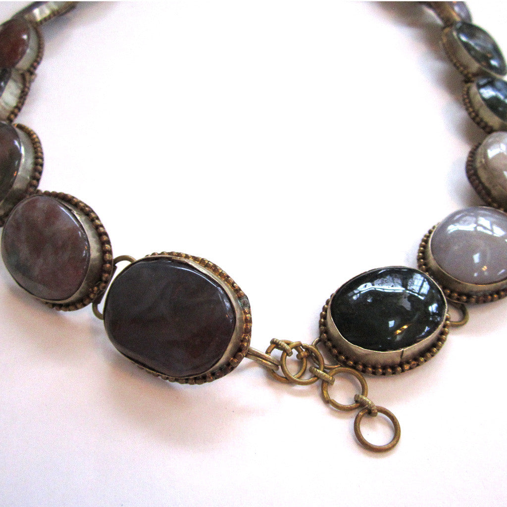 "Silver-Tone Metal Agate Stone ""Concho-style"" Belt"