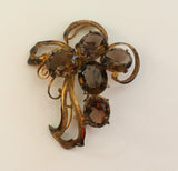 Smoky Quartz Silver Gilt Brooch/Pin