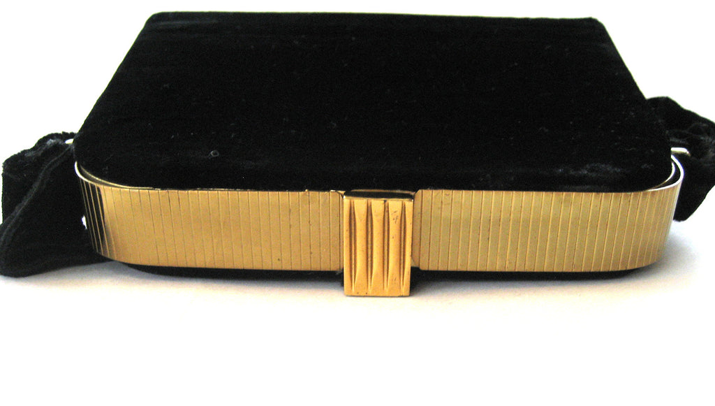 Circa 1940s L&M Spot-Lite Black Velvet Box Purse