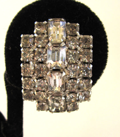 Circa 1950s Kramer Curved Rhinestone Sparkling Clip-back Earrings