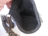 Steel Beaded Black Crocheted Purse