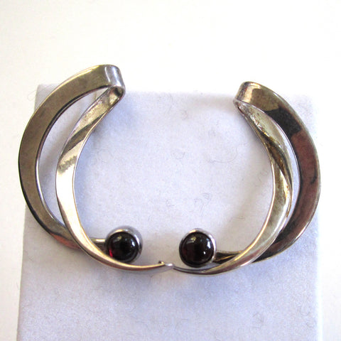 Sterling Silver Garnet Abstract Hoop Earrings